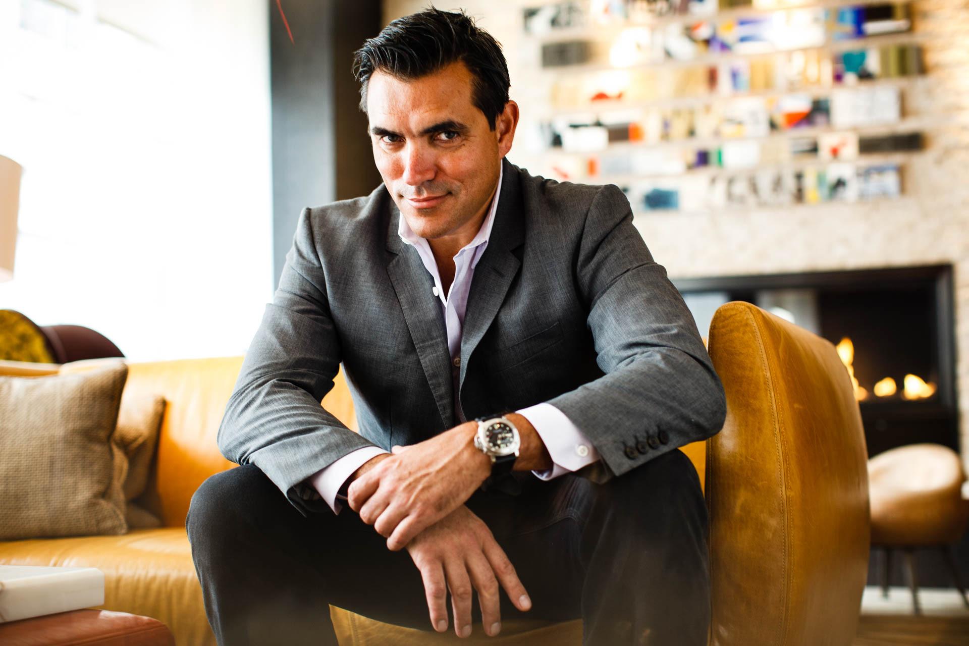 Todd English in his new restaurant, Ca Va Brasserie ; 310 W 44th St. NY, NY